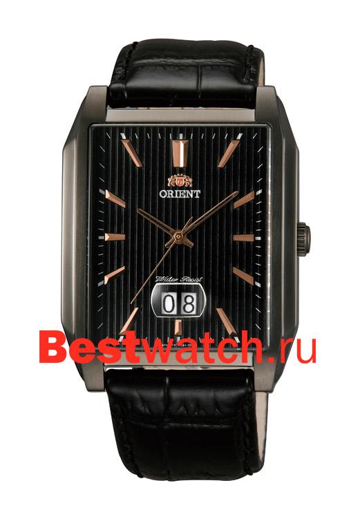 Мужские наручные часы с увеличенным окошком даты на кожаном ремешке. . Механизм: Кварцевые; Корпус: Стальной