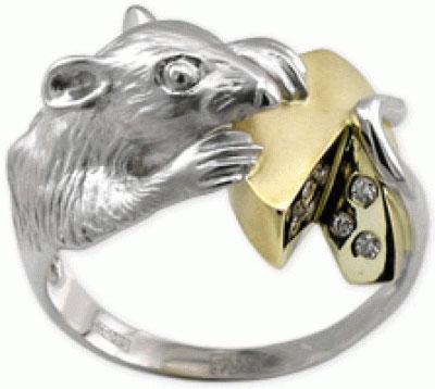 Золотое кольцо Крыса.  Примерный вес изделия - 7 гр. Металл.  Камни.