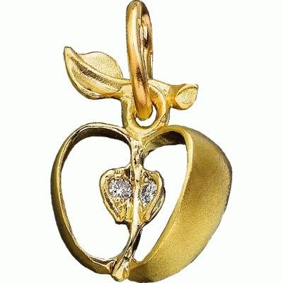 Золотую подвеску дополняют бриллианты.