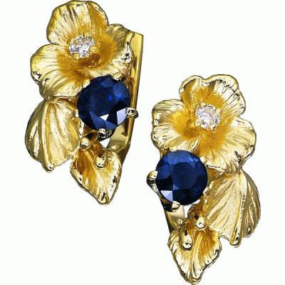Серьги Золото 585 пробы.  Вставка Бриллиант, Сапфир.  Ювелирные изделия.