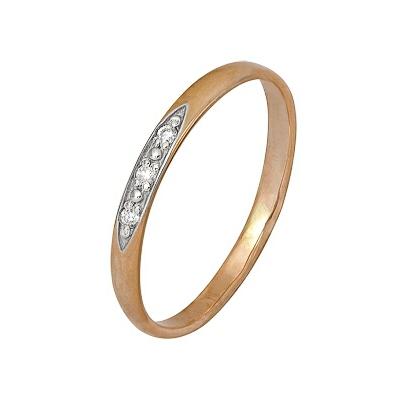 Купить Золотое кольцо A1000202392, Кольцо из комбинированого золота (Белый+Красный) 585 пробы. Вставки: 3 Бриллиант. Кр 57 90-120 4/5а (0.0250ct). Средний вес: 1.46., Ювелирное изделие