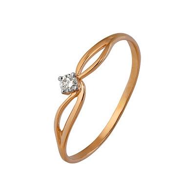 Купить Золотое кольцо A1000202609, Кольцо из комбинированого золота (Белый+Красный) 585 пробы. Вставки: 1 Бриллиант. Кр 57 15-20 3/5а (0.0630ct). Средний вес: 0.97., Ювелирное изделие