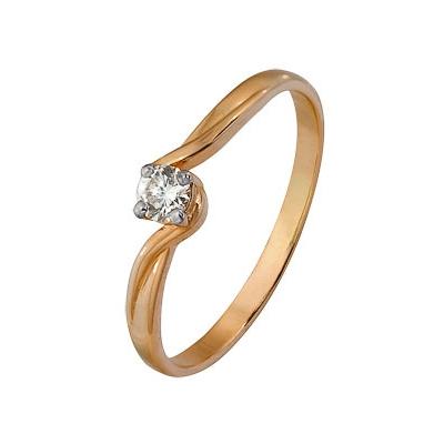 Купить Золотое кольцо A1000202613, Кольцо из комбинированого золота (Белый+Красный) 585 пробы. Вставки: 1 Бриллиант. Кр 57 15-20 4/4а (0.0600ct). Средний вес: 1.01., Ювелирное изделие