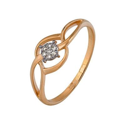 Купить Золотое кольцо A1000202662, Кольцо из комбинированого золота (Белый+Красный) 585 пробы. Вставки: 7 Бриллиант. Кр 57 200-400 4/5а (0.0370ct). Средний вес: 1.37., Ювелирное изделие