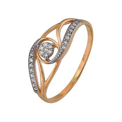 Купить Золотое кольцо A1000202704, Кольцо из комбинированого золота (Белый+Красный) 585 пробы. Вставки: 23 Бриллиант. Кр 57 200-400 3/5а (0.1070ct). Средний вес: 1.72., Ювелирное изделие
