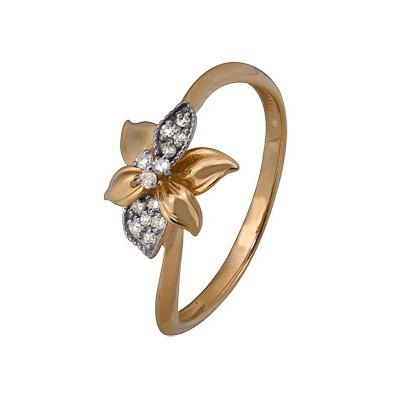 Купить Золотое кольцо A1000202784, Кольцо из комбинированого золота (Белый+Красный) 585 пробы. Вставки: 10 Бриллиант. Кр 17 200-400 2/3а (0.0430ct), 3 Бриллиант. Кр 17 90-120 2/3а (0.0270ct). Средний вес: 1.57., Ювелирное изделие