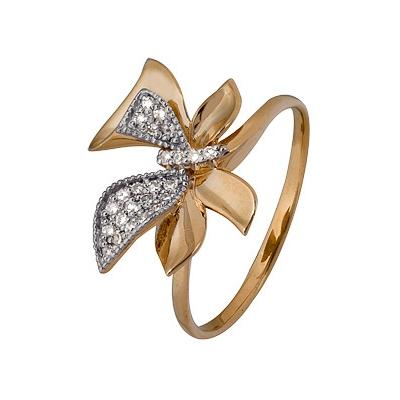 Купить Золотое кольцо A1000202789, Кольцо из комбинированого золота (Белый+Красный) 585 пробы. Вставки: 24 Бриллиант. Кр 17 200-400 2/3а (0.0880ct). Средний вес: 1.77., Ювелирное изделие