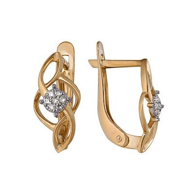 Купить Золотые серьги A1000212662, Серьги из комбинированого золота (Белый+Красный) 585 пробы. Вставки: 14 Бриллиант. Кр 57 200-400 4/5а (0.0700ct). Средний вес: 2.07., Ювелирное изделие