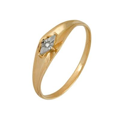 Кольцо из комбинированого золота (Белый+Красный)  585 пробы. Вставки: 1 Бриллиант.  Кр 57 60-90 д.1,5 4/5а (0.0180ct). Средний вес: 1.55. - Золотое кольцо  A1007101709