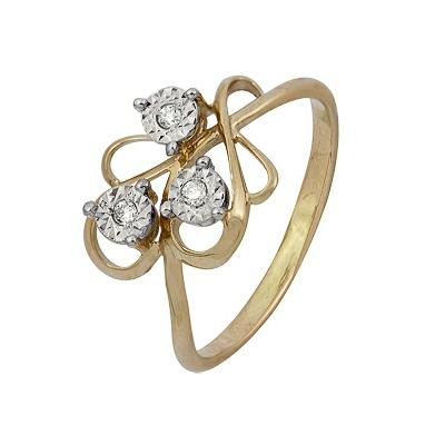 Купить Золотое кольцо A1007102031, Кольцо из комбинированого золота (Белый+Красный) 585 пробы. Вставки: 3 Бриллиант. Кр 57 60-90 4/5а (0.0440ct). Средний вес: 1.86., Ювелирное изделие
