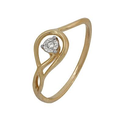 Купить Золотое кольцо A1007102037, Кольцо из красного золота 585 пробы. Вставки: 1 Бриллиант. Кр 57 60-90 4/4а (0.0130ct). Средний вес: 1.45., Ювелирное изделие