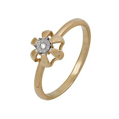 Купить Золотое кольцо A1007102043, Кольцо из красного золота 585 пробы. Вставки: 1 Бриллиант. Кр 57 60-90 д.1, 5 4/5а (0.0190ct). Средний вес: 2.36., Ювелирное изделие