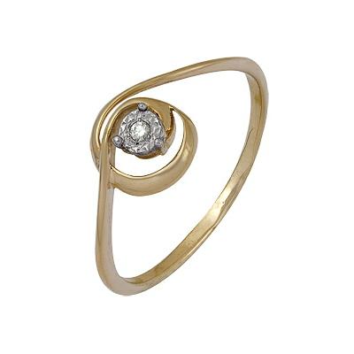 Купить Золотое кольцо A1007102048, Кольцо из комбинированого золота (Белый+Красный) 585 пробы. Вставки: 1 Бриллиант. Кр 57 60-90 4/5а (0.0150ct). Средний вес: 1.70., Ювелирное изделие