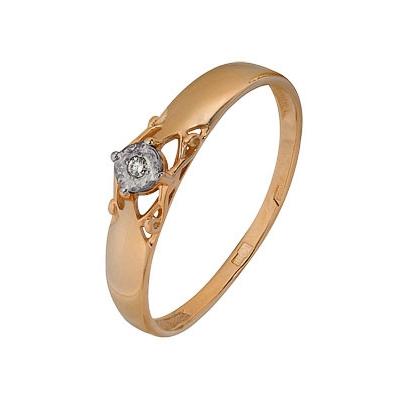 Купить Золотое кольцо A1007102670, Кольцо из комбинированого золота (Белый+Красный) 585 пробы. Вставки: 1 Бриллиант. Кр 57 60-90 3/5а (0.0200ct). Средний вес: 1.70., Ювелирное изделие