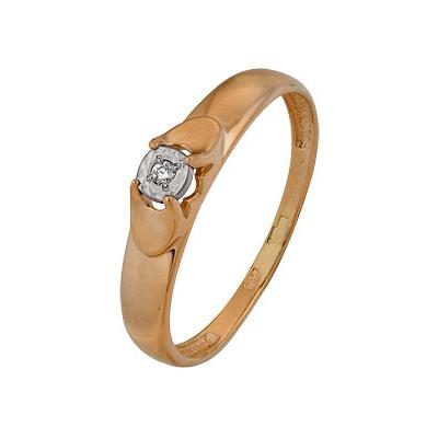 Купить Золотое кольцо A1007102671, Кольцо из комбинированого золота (Белый+Красный) 585 пробы. Вставки: 1 Бриллиант. Кр 57 60-90 4/5а (0.0080ct). Средний вес: 1.58., Ювелирное изделие