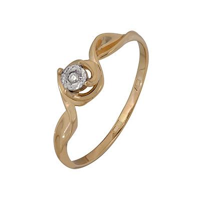 Купить Золотое кольцо A1007102672, Кольцо из комбинированого золота (Белый+Красный) 585 пробы. Вставки: 1 Бриллиант. Кр 57 60-90 4/5а (0.0120ct). Средний вес: 1.58., Ювелирное изделие