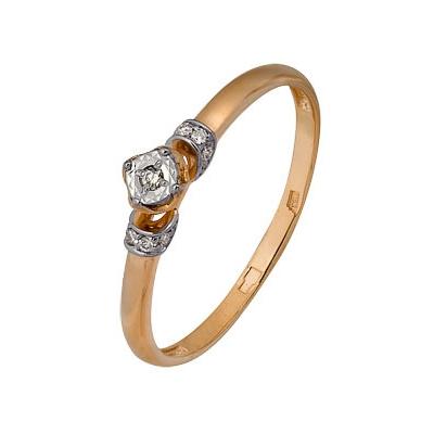 Купить Золотое кольцо A1007102675, Кольцо из комбинированого золота (Белый+Красный) 585 пробы. Вставки: 8 Бриллиант. Кр 57 200-400 4/5а (0.0400ct), 1 Бриллиант. Кр 57 60-90 4/5а (0.0150ct). Средний вес: 1.37., Ювелирное изделие