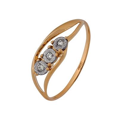 Купить Золотое кольцо A1007102731, Кольцо из комбинированого золота (Белый+Красный) 585 пробы. Вставки: 3 Бриллиант. Кр 57 60-90 4/5а (0.0460ct). Средний вес: 1.73., Ювелирное изделие
