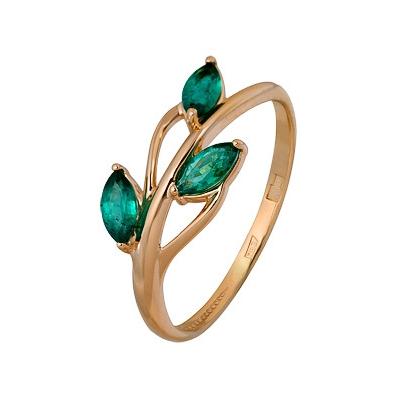 Купить Золотое кольцо A1010002724, Кольцо из красного золота 585 пробы. Вставки: 3 Изумруд маркиз 2, 5*5 3/3 (0.3530ct). Средний вес: 1.45., Ювелирное изделие