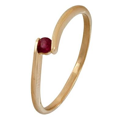 Купить Золотое кольцо A1020001492, Кольцо из красного золота 585 пробы. Вставки: 1 Рубин Кр д.2, 75 2/2 (0.0930ct). Средний вес: 1.13., Ювелирное изделие