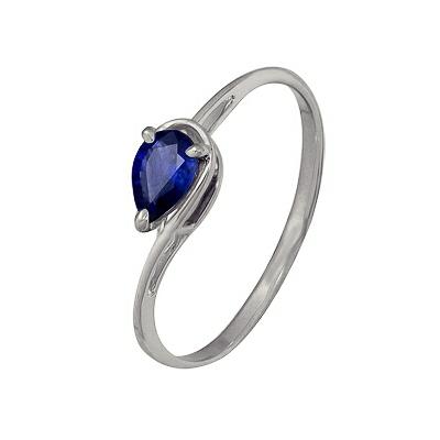Купить Золотое кольцо A1036102329, Кольцо из белого золота 585 пробы. Вставки: 1 Сапфир груша 4*6 2/2 (0.4300ct). Средний вес: 1.06., Ювелирное изделие