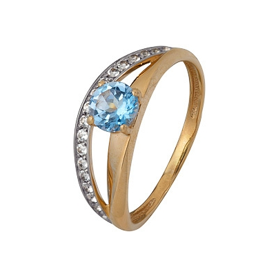 Купить Золотое кольцо A1070202767, Кольцо из комбинированого золота (Белый+Красный) 585 пробы. Вставки: 1 Топаз Кр. Средний вес: 1.86., Ювелирное изделие