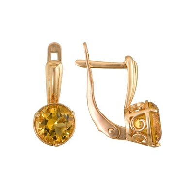 Купить Золотые серьги A1090011054, Серьги из красного золота 585 пробы. Вставки: 2 Цитрин Кр д.7, 0 (2.2000ct). Средний вес: 3.40., Ювелирное изделие