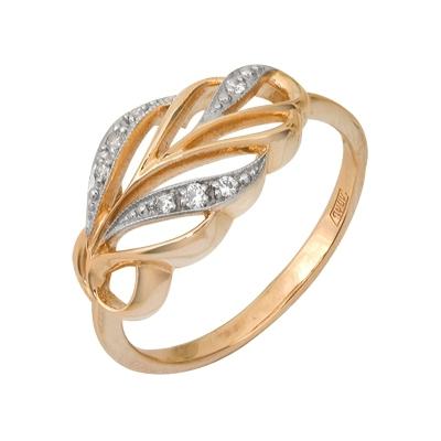 Купить Золотое кольцо A11028017, Кольцо из красного золота 585 пробы. Вставки: 2 Фианит Кр д.1, 5 (0.1000ct), 5 Фианит Кр д.1, 25 (0.0750ct). Средний вес: 2.94., Ювелирное изделие