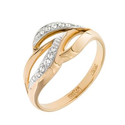 Купить Золотое кольцо A11028059, Кольцо из красного золота 585 пробы. Вставки: 4 Фианит Кр д.1, 0 (0.0320ct), 5 Фианит Кр д.1, 25 (0.0750ct), 1 Фианит Кр д.1, 5 (0.0500ct). Средний вес: 2.84., Ювелирное изделие