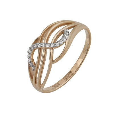Купить Золотое кольцо A11028197, Кольцо из красного золота 585 пробы. Вставки: 16 Фианит Кр д.1, 0 (0.1280ct). Средний вес: 2.38., Ювелирное изделие