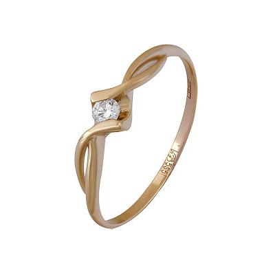Купить Золотое кольцо A11034512, Кольцо из красного золота 585 пробы. Вставки: 1 Бриллиант. Кр 57 7-10 3/4а (0.1100ct). Средний вес: 1.45., Ювелирное изделие