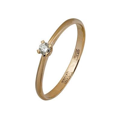 Купить Золотое кольцо A11037005, Кольцо из красного золота 585 пробы. Вставки: 1 Бриллиант. Кр 57 15-20 4/4а (0.0700ct). Средний вес: 1.35., Ювелирное изделие