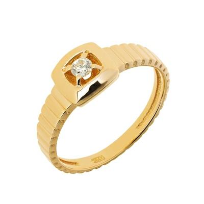 Купить Золотое кольцо A11037877, Кольцо из красного золота 585 пробы. Вставки: 1 Бриллиант. Кр 57 7-10 3/5а (0.1300ct). Средний вес: 3.94., Ювелирное изделие