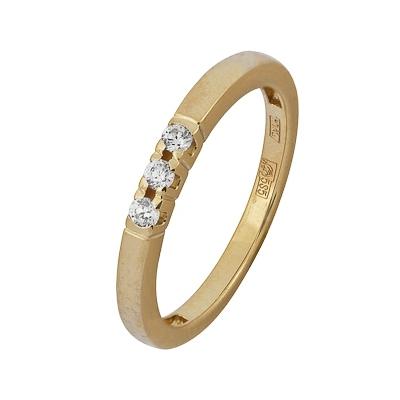 Купить Золотое кольцо A11038279, Кольцо из красного золота 585 пробы. Вставки: 3 Бриллиант. Кр 57 15-20 1/3а (0.1770ct). Средний вес: 2.81., Ювелирное изделие