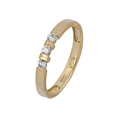 Купить Золотое кольцо A11038280, Кольцо из красного золота 585 пробы. Вставки: 3 Бриллиант. Кр 57 10-15 3/5а. Средний вес: 2.55., Ювелирное изделие