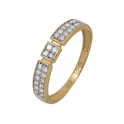 Купить Золотое кольцо A11038451.17, Кольцо из комбинированого золота (Белый+Красный) 585 пробы. Вставки: 28 Бриллиант. Кр 17 90-120 2/3а (0.2700ct). Средний вес: 2.02., Ювелирное изделие