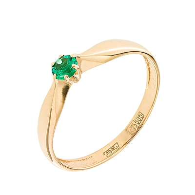 Купить Золотое кольцо A11408050, Кольцо из красного золота 585 пробы. Вставки: 1 Изумруд Кр д.3, 0 3/3 (0.1000ct). Средний вес: 1.22., Ювелирное изделие