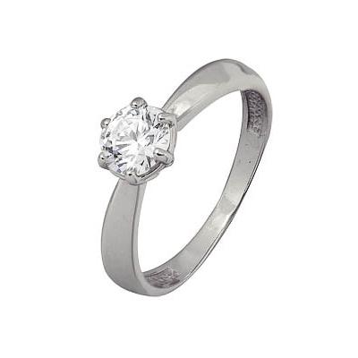 Купить Золотое кольцо A1206102110, Кольцо из белого золота 585 пробы. Вставки: 1 Фианит SWAROVSKI Кр д.5, 5 (1.1200ct). Средний вес: 2.48., Ювелирное изделие