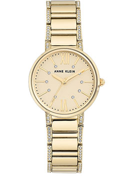 fashion наручные  женские часы Anne Klein 3200CHGB. Коллекция Crystal.