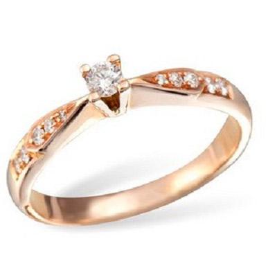 Кольцо, красное золото 585 пробы, примерный вес изделия - 2.48 гр. 10 бриллиантов огранки Кр-57, примерным весом в 0.10 карат, 3/4 А, 1 бриллиант огранки Кр-57, примерным весом в 0.09 карат, 4/4 А . - Золотое кольцо  K0867RG