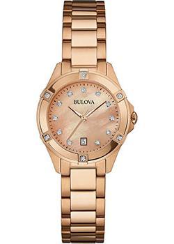 Японские наручные  женские часы Bulova 97W101. Коллекция Diamonds