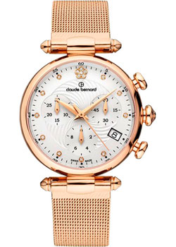 Швейцарские наручные  женские часы Claude Bernard 10216-37RAPR2. Коллекция Dress code Chronograph