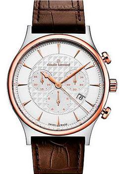 Швейцарские наручные  мужские часы Claude Bernard 10217-357RAIR. Коллекция Classic Gents Chronograph
