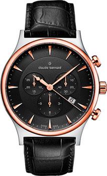 Швейцарские наручные  мужские часы Claude Bernard 10217-357RNIR1. Коллекция Classic Gents Chronograph
