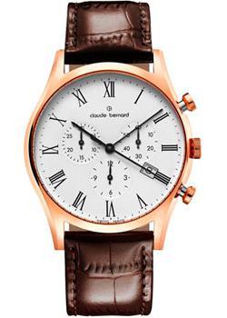 Швейцарские наручные  мужские часы Claude Bernard 10218-37RBR. Коллекция Classic Gents Chronograph