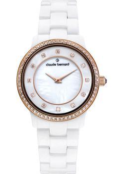 Швейцарские наручные  женские часы Claude Bernard 20203-BRB. Коллекция Dress code Ceramic with stones