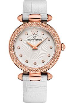 Швейцарские наручные  женские часы Claude Bernard 20504-37RPAPR. Коллекция Dress code with stones