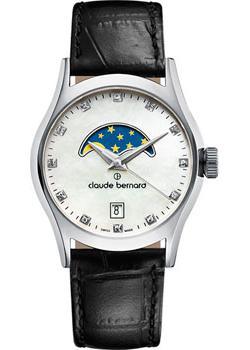 Швейцарские наручные  женские часы Claude Bernard 39010-3NAN. Коллекция Classic Ladies moonphase