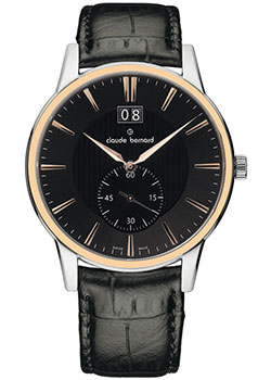 Швейцарские наручные мужские часы Claude Bernard 64005-357RGIR. Коллекция Classic Gents Big Date Small Second