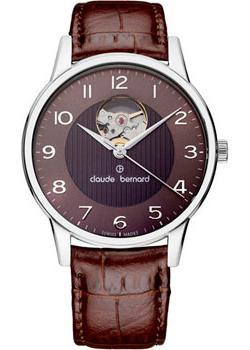 Швейцарские наручные  мужские часы Claude Bernard 85017-3BRBN. Коллекция Classic Automatic Open Heart